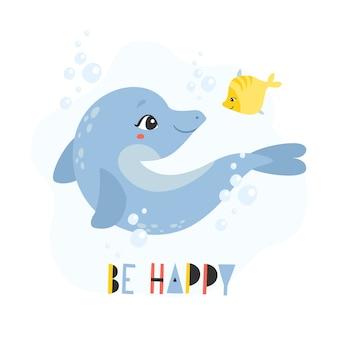 """Zabawny delfin i ryba. kartkę z życzeniami z komunikatem """"bądź szczęśliwy"""""""