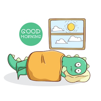 Zabawny dinozaur budzi się późno w stylu doodle