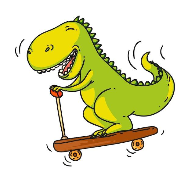 Zabawny dinozaur jedzie skuterem na białym tle