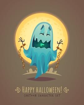 Zabawny duch w przerażającej postawie. koncepcja postaci z kreskówki halloween. ilustracja.