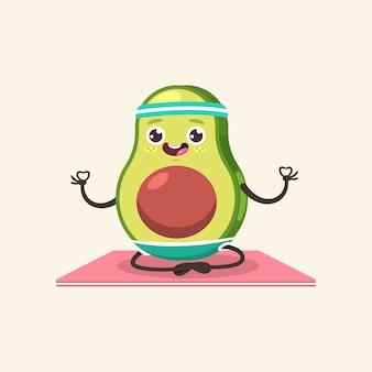 Zabawny dzieciak awokado w pozie jogi. ładny owoc kreskówka na białym tle na tle. zdrowe odżywianie i sprawność fizyczna.