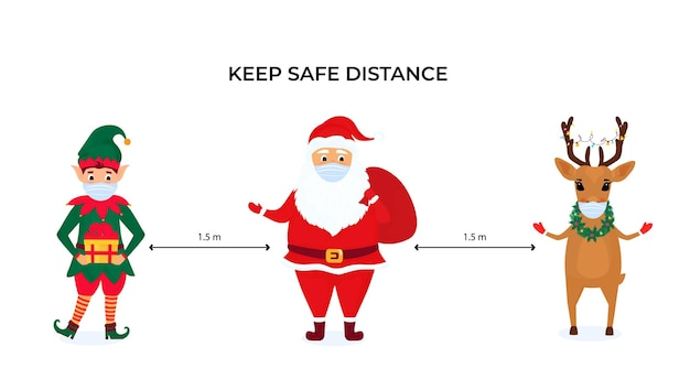 Zabawny elf bożonarodzeniowy, jeleń i święty mikołaj noszą ochronne maski na twarz. zachowaj dystans społeczny. środki zapobiegawcze podczas pandemii koronawirusa coivd-19.