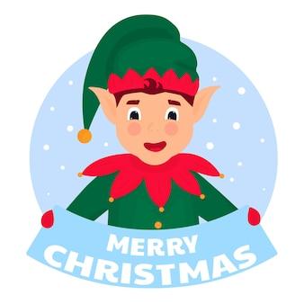 Zabawny elf trzyma tabliczkę z napisem wesołych świąt.