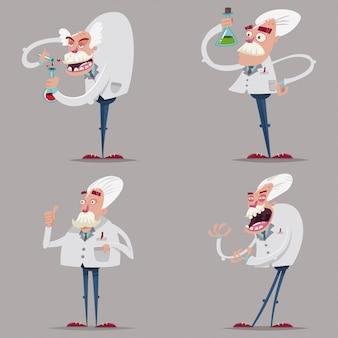 Zabawny i szalony chemik naukowiec w garniturze laboratoryjnym i probówkach. zestaw znaków kreskówka starych profesorów prowadzących eksperyment naukowy na tle.
