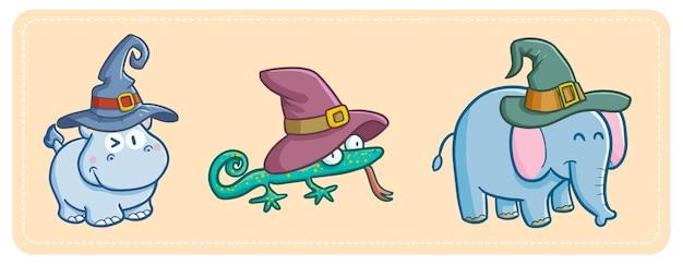Zabawny i uroczy hipopotam, jaszczurka i słoń z kawaii w kapeluszu czarownicy na halloween.