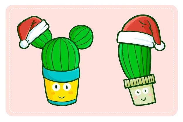 Zabawny i uroczy kawaii kaktus w doniczce w czapce mikołaja na boże narodzenie