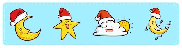 Zabawny i uroczy kawaii księżyc, gwiazda, chmura i słońce w czapce świętego mikołaja na boże narodzenie