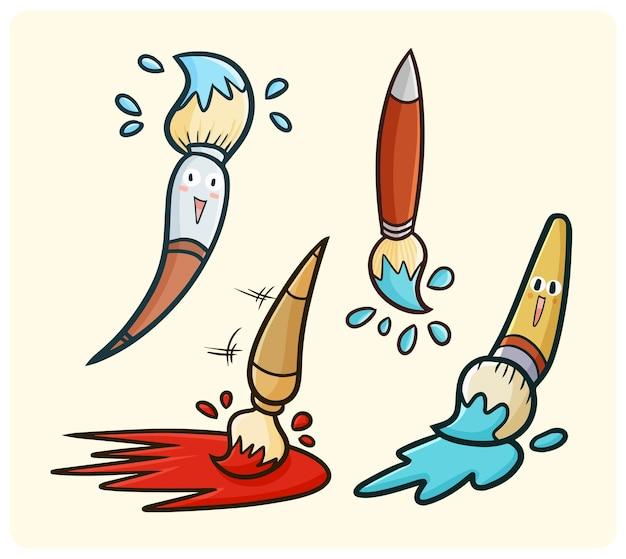Zabawny i uroczy pędzel do malowania w stylu doodle kawaii