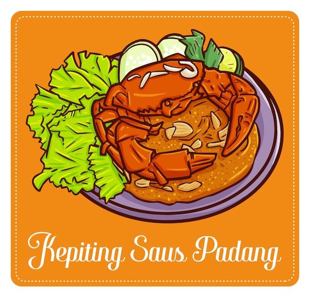 """Zabawny i uroczy pyszny """"kepiting saus tiram"""", tradycyjna kuchnia kraba z balikpapan w indonezji."""