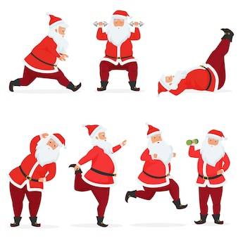 Zabawny i uroczy zestaw świętego mikołaja wykonuje ćwiczenia na siłowni z hantlami i sztangą na białym tle. sport fitness santa