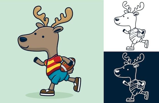 Zabawny jeleń grający w rugby. ilustracja kreskówka w stylu płaskiej ikony