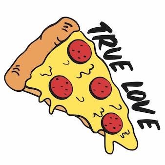 Zabawny kawałek pizzy prawdziwej miłości