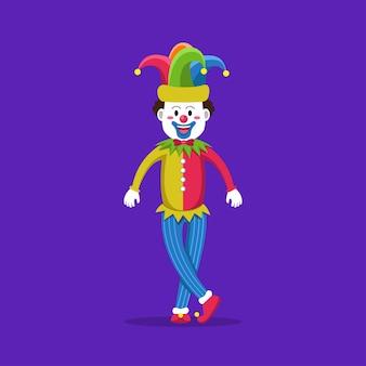 Zabawny klaun w kolorowych ubraniach podczas tańca