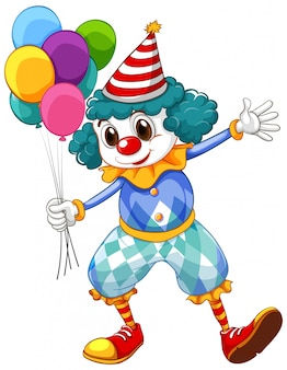 Zabawny klaun z kolorowymi balonami i dużymi butami