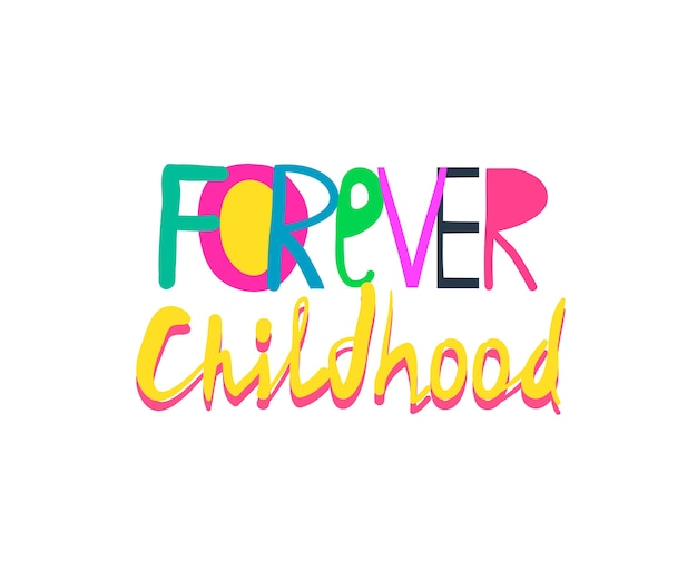 Zabawny kolorowy kolaż napisów dla dzieci, ulotki lub koszulki, dziecinny abstrakcyjny znak.