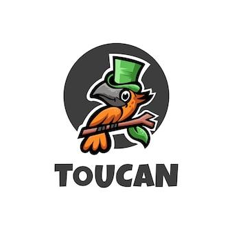 Zabawny kolorowy kreskówka tukan wektor logo
