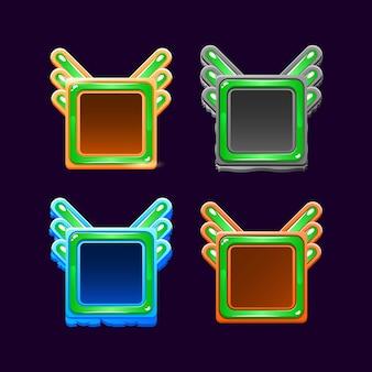 Zabawny kolorowy szablon ramki drewnianej i galaretki gui dla elementów aktywów interfejsu gry