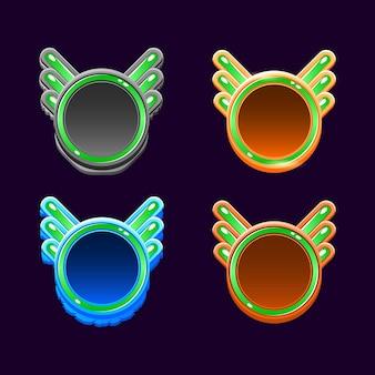 Zabawny, kolorowy, zaokrąglony szablon ramki drewnianej i galaretki gui dla elementów aktywów interfejsu gry