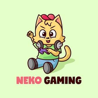 Zabawny kot gra w wideo maskotka z logo