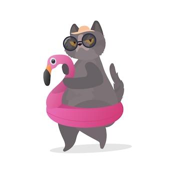Zabawny kot z gumowym pierścieniem w kształcie różowego flaminga. kot w okularach i kapeluszu. dobry na naklejki, karty i koszulki. odosobniony. wektor.