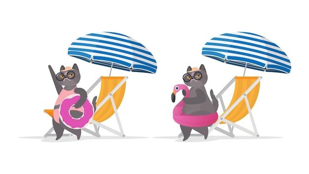 Zabawny kot z gumowym pierścieniem w kształcie różowego flaminga. leżak, parasol. kot w okularach i kapeluszu. dobry na naklejki, karty i koszulki. odosobniony. wektor.