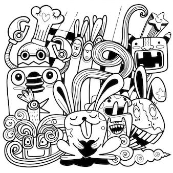 Zabawny królik z postaciami przyjaciół, świetny do kolorowania strony