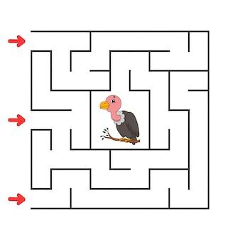 Zabawny kwadratowy labirynt. gra dla dzieci. puzzle dla dzieci. postać z kreskówki. zagadka labiryntu. kolor ilustracji wektorowych.