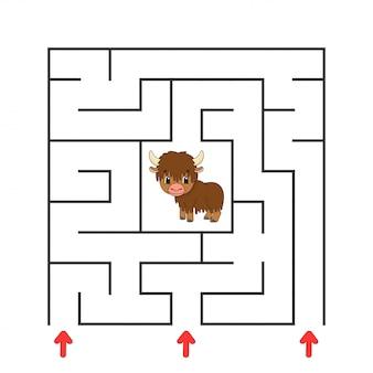 Zabawny kwadratowy labirynt. gra dla dzieci. puzzle dla dzieci. postać z kreskówki. zagadka labiryntu.
