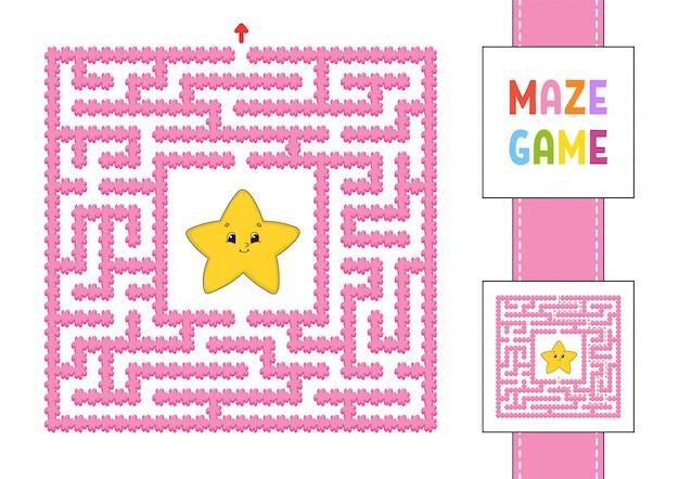 Zabawny kwadratowy labirynt. gra dla dzieci.