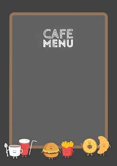 Zabawny ładny fast food burger, napoje gazowane, frytki, rogalik i pączek narysowany z uśmiechem, oczami i rękami. kartonowe menu restauracji dla dzieci.