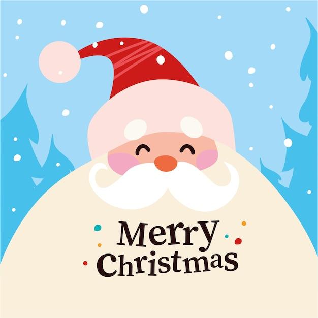 Zabawny ładny portret postać świętego mikołaja w czerwonym kapeluszu w zimowym śnieżnym lesie na białym tle. ilustracja kreskówka płaski wektor. do kartek świątecznych, banerów, naklejek, przywieszek, reklam, opakowań itp.