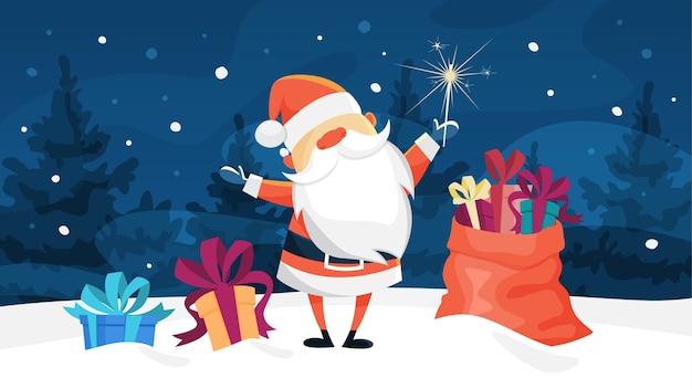Zabawny ładny święty mikołaj stojący z torbą pełną prezentów w zimowym lesie. obchody nowego roku i bożego narodzenia. ilustracja