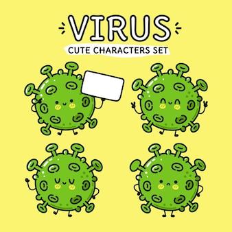 Zabawny, ładny, szczęśliwy wirus, zestaw postaci z kreskówek
