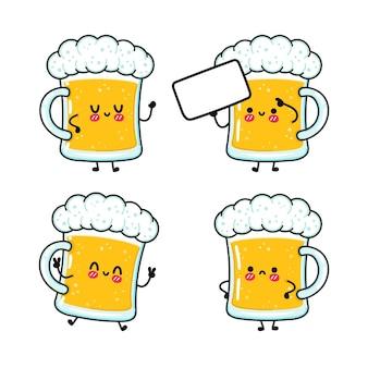 Zabawny ładny szczęśliwy zestaw kieliszków piwa
