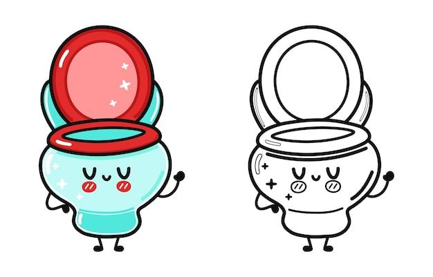Zabawny ładny szczęśliwy zestaw znaków toaletowych zestaw zarys ilustracji kreskówki do kolorowania