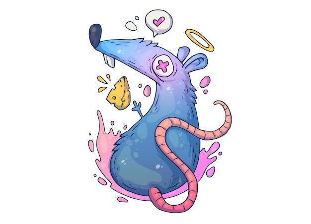 Zabawny ładny szczur. ilustracja kreatywnych kreskówek.