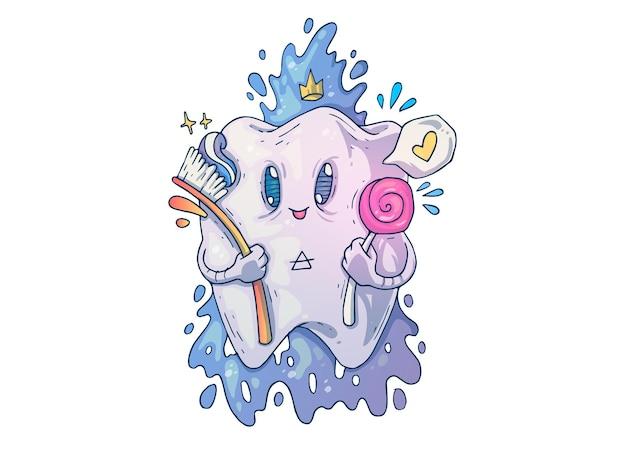 Zabawny ładny ząb z cukierkami. ilustracja kreatywnych kreskówek.