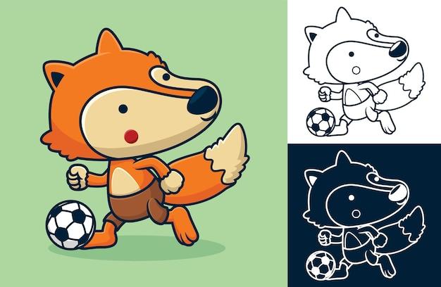 Zabawny lis grający w piłkę nożną. ilustracja kreskówka w stylu płaskiej ikony