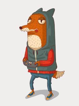 Zabawny lis ubrany w bluzę gra w gry wideo