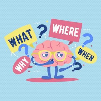 Zabawny ludzki mózg w okularach otoczony pytaniami i punktami przesłuchań myśli lub rozwiązuje problem lub zagadkę