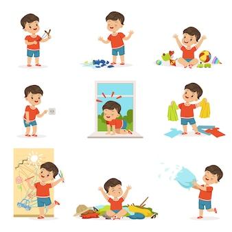Zabawny mały chłopiec grając w gry i robiąc bałagan