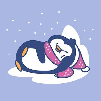 Zabawny mały pingwin śpi poza doodle ilustracja