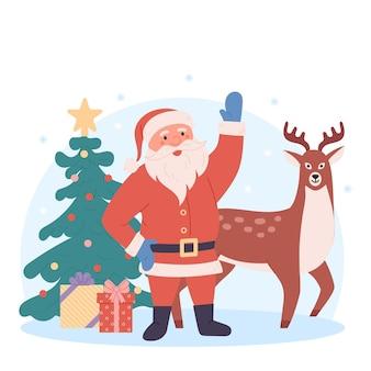 Zabawny mikołaj z jeleniem na choinkę i prezentami plakat z życzeniami świątecznymi w tle