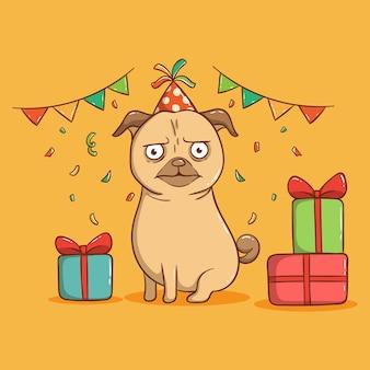Zabawny mops pies z dekoracją urodzinową. kartkę z życzeniami wszystkiego najlepszego