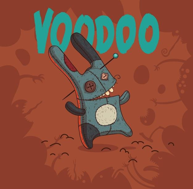 Zabawny na białym tle ręcznie robiony królik voodoo przebity szpilką