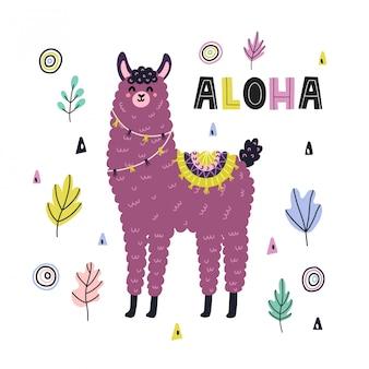 Zabawny nadruk aloha z uroczą lamą. karta z alpagą w dziecinnym stylu. ręcznie rysowane napis w stylu skandynawskim. projekt czasu letniego. ilustracja