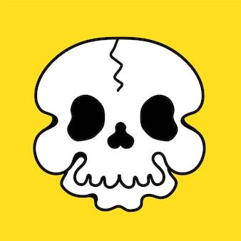 Zabawny nadruk czaszki na t-shirt, plakat, logo, karty. wektor ręcznie narysowana linia w stylu lat 70-tych ilustracja kreskówka. zabawna czaszka, nadruk twarzy na koszulkę, plakat, koncepcję karty