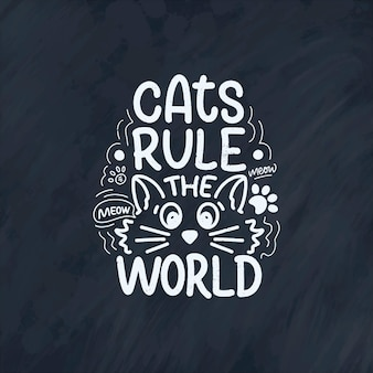 Zabawny napis cytat o kotach do druku w stylu wyciągnąć rękę.