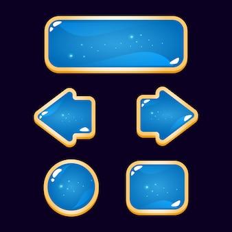 Zabawny niebieski przycisk gui ze złotą obwódką