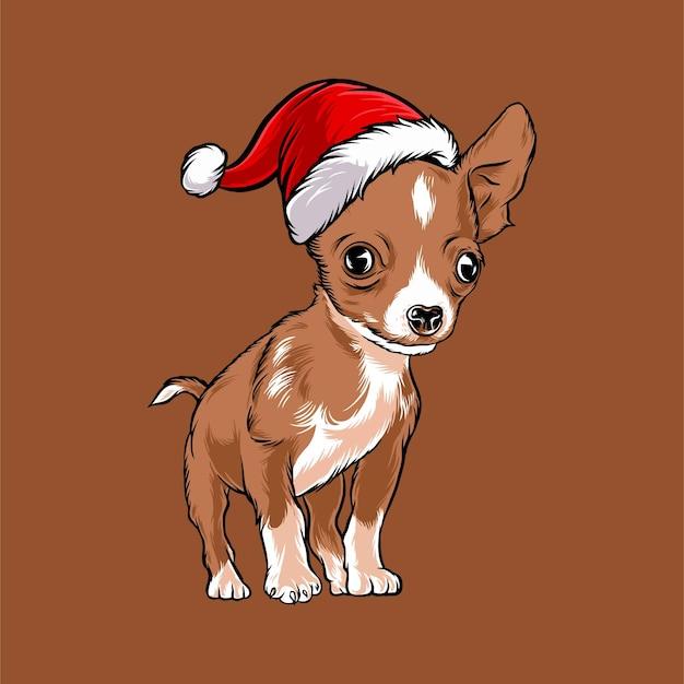 Zabawny pies chihuahua w stroju świętego mikołaja